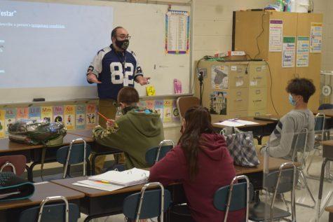 Mr. Parris teaching his class.