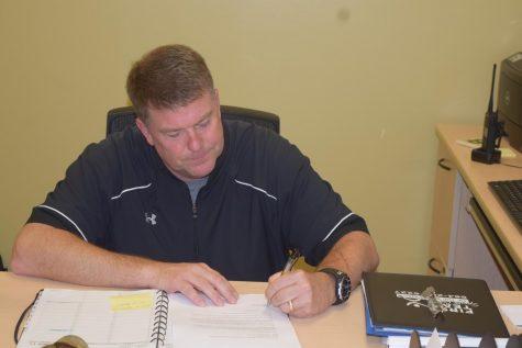 Mr. McManus working diligently.