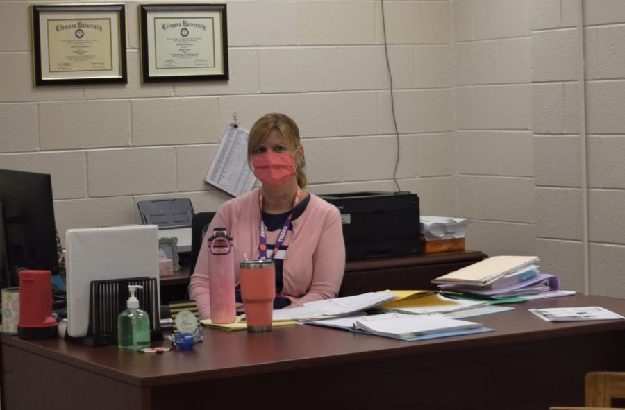 Instructional Coach Mrs. Wilkes in her office on the second floor.
