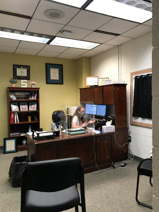 New Asst. Principal Mrs. Miriam Fischer works in her office on the third floor.