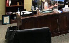 New Asst. Principal Mrs. Miriam Fischer works in her office on the third floor.