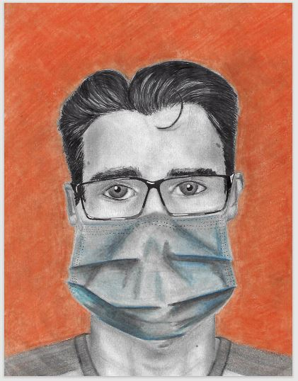 Dawson Bell, who is among students who have contracted COVID, drew this self-portrait.