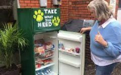 Teacher Mrs. Patricia Jones inspects one of the refrigerators she set up with her pastor in Conway to help those in need during the Pandemic.