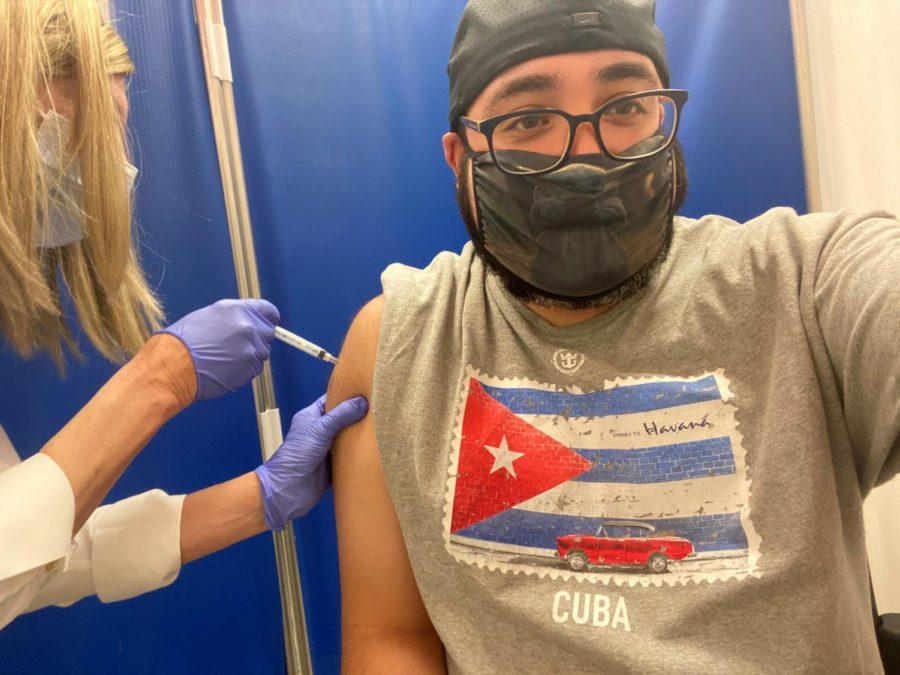 Spanish+Teacher+Mr.+Matthew+Parris+gets+his+COVID-19+vaccine.