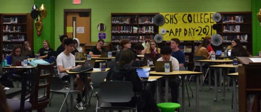 Seniors participate in College Application Day on Tuesday.