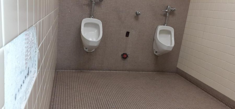 A urinal was missing from the wall of boys bathroom September 16.