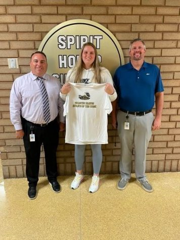 Anna Reese Pratt receives an Athlete of the Week shirt from Principal Mr. Jeremy Rich and Athletic Director Mr. Josh Vinson.